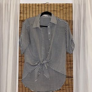 BCBG Generation Striped Button Down with Tie-Front